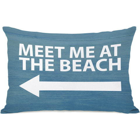 """Meet Me At The Beach"" Outdoor Throw Pillow by OneBellaCasa, 14""x20"""