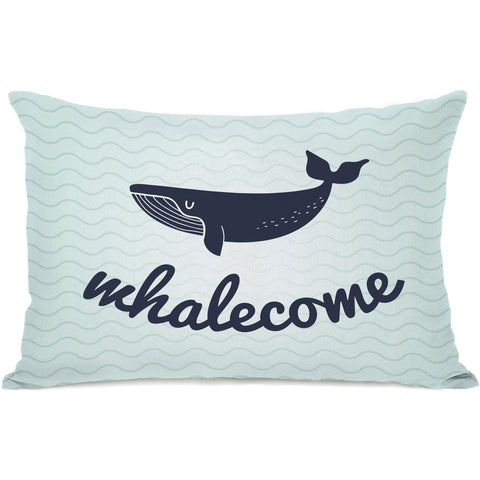 """Whalecome"" Outdoor Throw Pillow by OneBellaCasa, 14""x20"""
