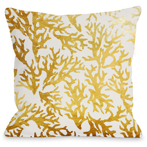 """Coral"" Indoor Throw Pillow by OneBellaCasa, 16""x16"""