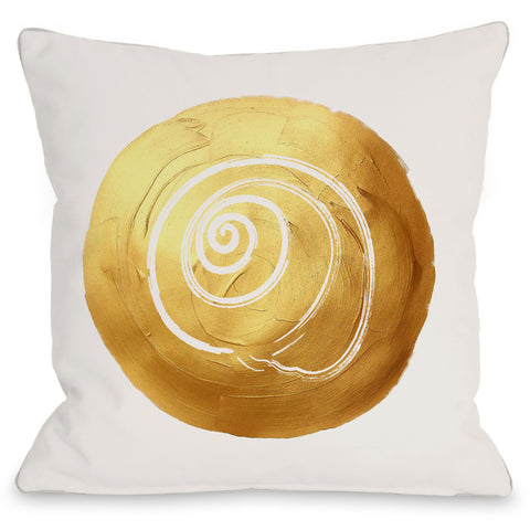 """Gold Shell Circle"" Indoor Throw Pillow by OneBellaCasa, 16""x16"""