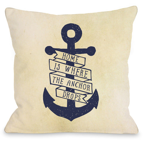 """Home Is Where The Anchor Drops"" Outdoor Throw Pillow by OneBellaCasa, 16""x16"""
