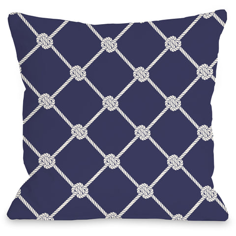 """Nautical Rope Pattern"" Outdoor Throw Pillow by OneBellaCasa, 16""x16"""