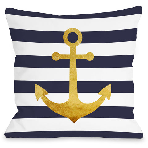 """Nautical Stripes Anchor"" Outdoor Throw Pillow by OneBellaCasa, 16""x16"""