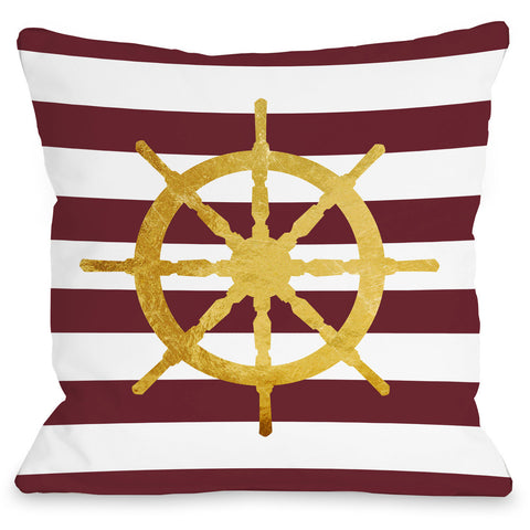 """Nautical Stripes Wheel"" Indoor Throw Pillow by OneBellaCasa, 16""x16"""
