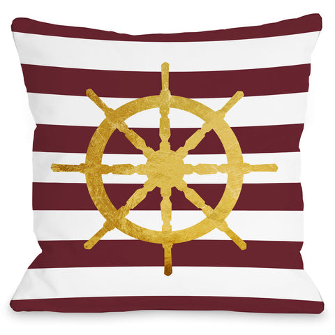 """Nautical Stripes Wheel"" Outdoor Throw Pillow by OneBellaCasa, 16""x16"""
