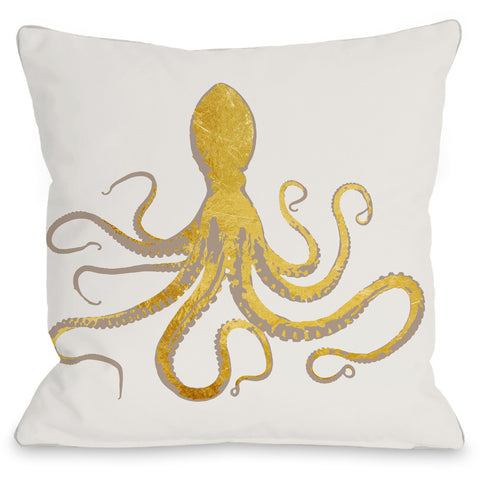 """Octo Silo Gold"" Outdoor Throw Pillow by OneBellaCasa, 16""x16"""