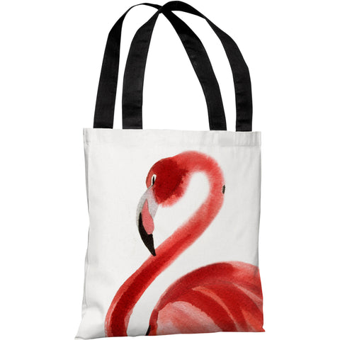 """Oversized Flamingo"" 18""x18"" Tote Bag by OneBellaCasa"