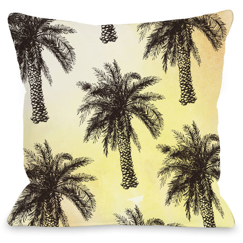 """Palm Tree Pattern"" Indoor Throw Pillow by OneBellaCasa, 16""x16"""