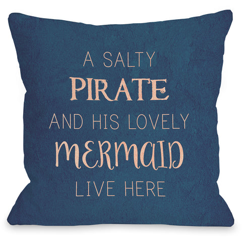 """Salty Pirate Lovely Mermaid"" Indoor Throw Pillow by OneBellaCasa, 16""x16"""