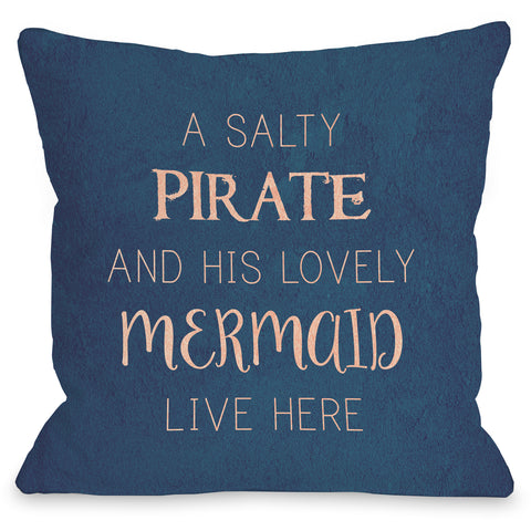 """Salty Pirate Lovely Mermaid"" Outdoor Throw Pillow by OneBellaCasa, 16""x16"""