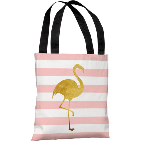 """Tropical Stripes Flamingo"" 18""x18"" Tote Bag by OneBellaCasa"