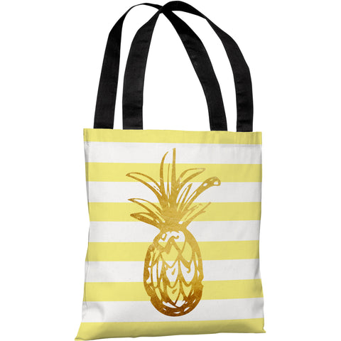 """Tropical Stripes Pineapple"" 18""x18"" Tote Bag by OneBellaCasa"