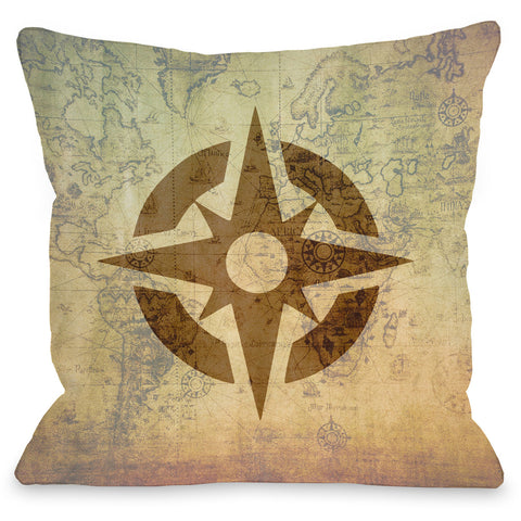 """Vintage Map Compass"" Indoor Throw Pillow by OneBellaCasa, 16""x16"""