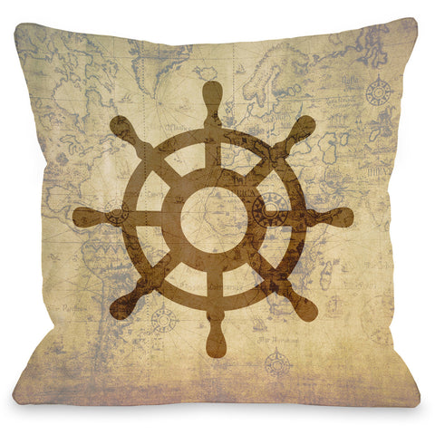 """Vintage Map Wheel"" Indoor Throw Pillow by OneBellaCasa, 16""x16"""