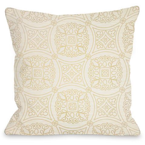 """Doily Cream"" Outdoor Throw Pillow by OneBellaCasa, 16""x16"""