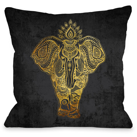 """India Elephant Gold"" Outdoor Throw Pillow by OneBellaCasa, 16""x16"""
