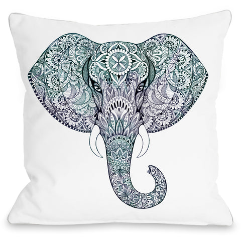 """Elephant"" Outdoor Throw Pillow by OneBellaCasa, 16""x16"""