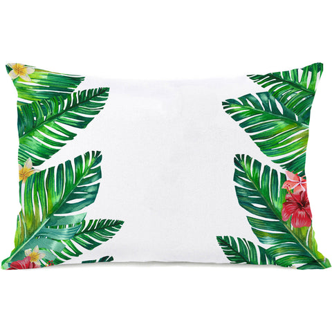 """Tropical Palm Leaves"" Outdoor Throw Pillow by OneBellaCasa, 14""x20"""