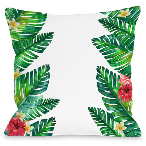"""Tropical Palm Leaves"" Outdoor Throw Pillow by OneBellaCasa, 16""x16"""