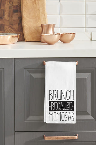 """Brunch Because Mimosas"" Tea Towel by OneBellaCasa"