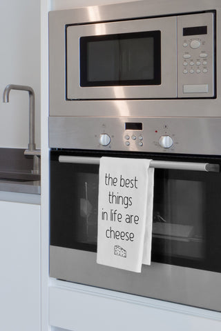 """Best Things In Life Are Cheese"" Tea Towel by OneBellaCasa"