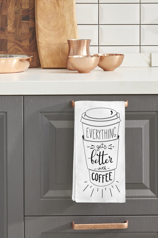 """Everything Gets Better With Coffee"" Tea Towel by OneBellaCasa"