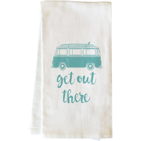 """Get Out There"" Tea Towel by OneBellaCasa"