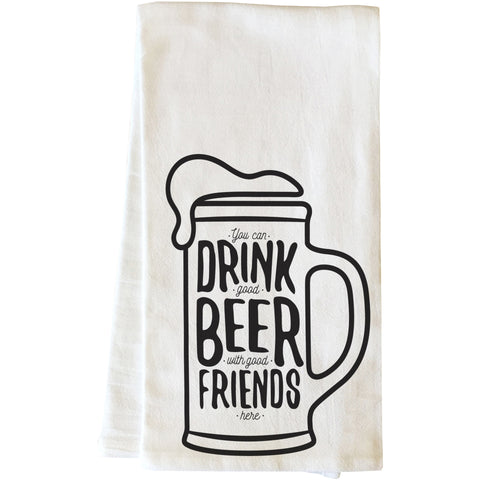"""Good Beer Good Friends"" Tea Towel by OneBellaCasa"