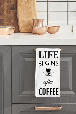 """Life Begins After Coffee"" Tea Towel by OneBellaCasa"