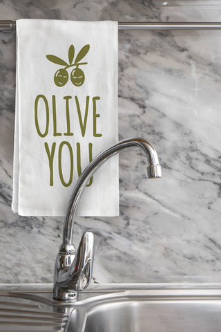 """Olive You"" Tea Towel by OneBellaCasa"