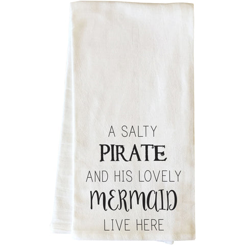 """Salty Pirate & Lovely Mermaid"" Tea Towel by OneBellaCasa"