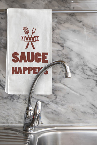 """Sauce Happens"" Tea Towel by OneBellaCasa"