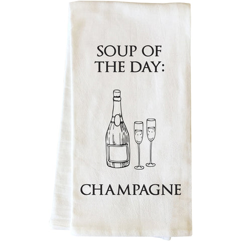 """Soup Of The Day - Champagne"" Tea Towel by OneBellaCasa"