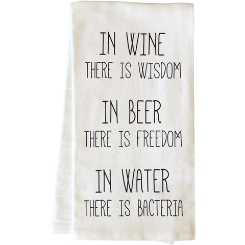 """Wine Beer Water"" Tea Towel by OneBellaCasa"