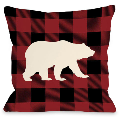 """Polar Plaid"" Indoor Throw Pillow by OneBellaCasa, Black, 16""x16"""