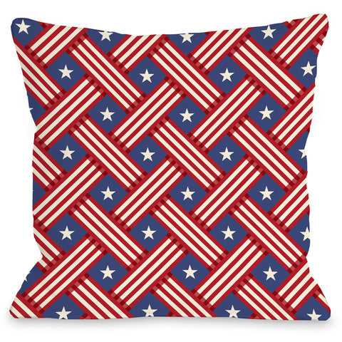 """Patriot Pattern"" Indoor Throw Pillow by OneBellaCasa, 16""x16"""