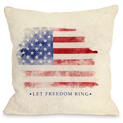 """Let Freedom Ring"" Indoor Throw Pillow by OneBellaCasa, 16""x16"""
