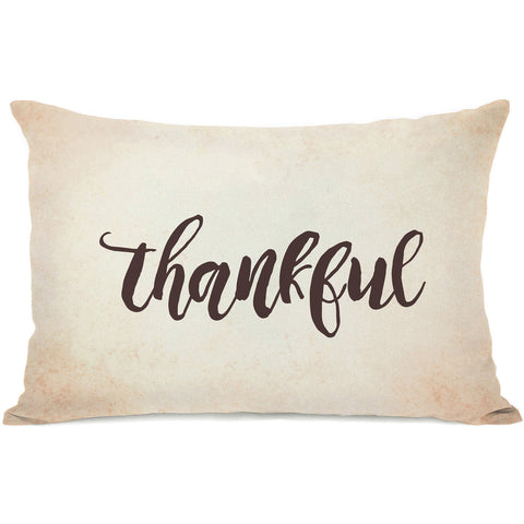 """Thankful"" Indoor Throw Pillow by OneBellaCasa, 14""x20"""