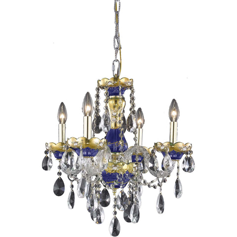 "Alexandria 19"" Diam Chandelier, Blue Finish, Clear Crystal, Elegant Cut"