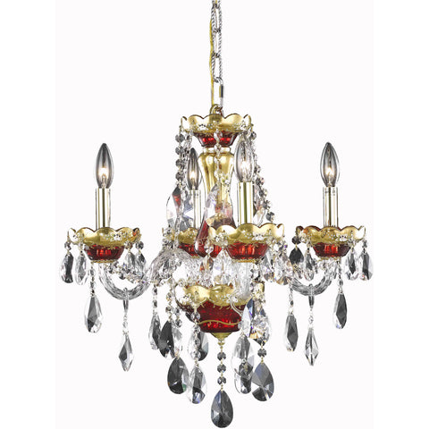 "Alexandria 19"" Diam Chandelier, Red Finish, Clear Crystal, Elegant Cut"