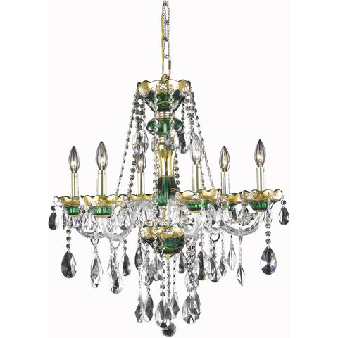 "Alexandria 24"" Diam Chandelier, Green Finish, Clear Crystal, Elegant Cut"