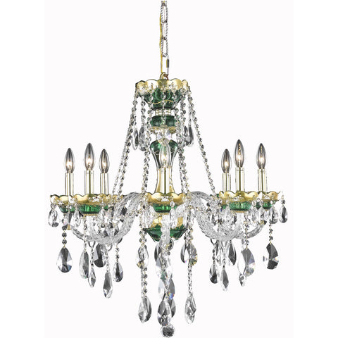 "Alexandria 26"" Diam Chandelier, Green Finish, Clear Crystal, Elegant Cut"