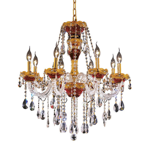 "Alexandria 26"" Diam Chandelier, Gold Finish, Clear Crystal, Elegant Cut"