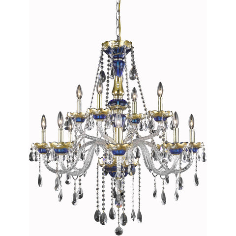 "Alexandria 33"" Diam Chandelier, Blue Finish, Clear Crystal, Elegant Cut"