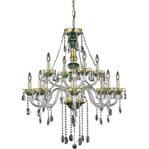 "Alexandria 33"" Diam Chandelier, Green Finish, Clear Crystal, Elegant Cut"
