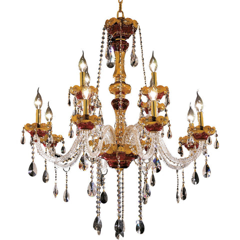 "Alexandria 33"" Diam Chandelier, Gold Finish, Clear Crystal, Elegant Cut"