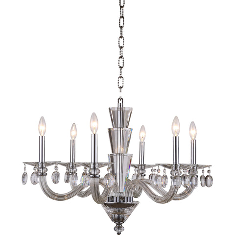 "Augusta 29.5"" Diam Chandelier, Chrome Finish"