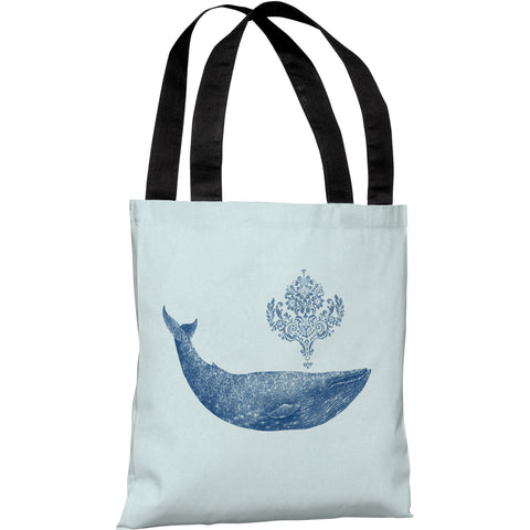 """Damask Whale"" 18""x18"" Tote Bag by Terry Fan"