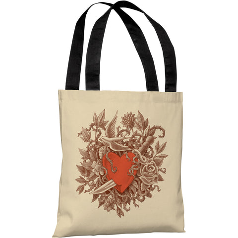 """Heart Of Thorns"" 18""x18"" Tote Bag by Terry Fan"