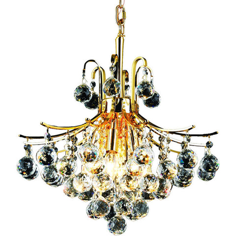 "Toureg 16"" Diam Chandelier, Gold Finish, Clear Crystal, Elegant Cut"